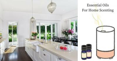 Modern open plan kitchen and drawing of diffuser with essential oil bottles