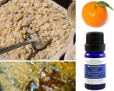 Scentcillo Oracle essential oil blend with ingredients of frankincense, myrrh and clementine.