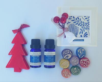 Scentcillo Christmas gift set with colourful ceramic aroma stones