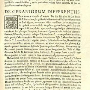 Dillenius' introduction of concept of Pelargonium, in Hortus Elthamensis, 1732