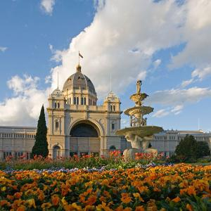 A view of the south-facing side of the Royal Exhibition Building in Melbourne, Australia.